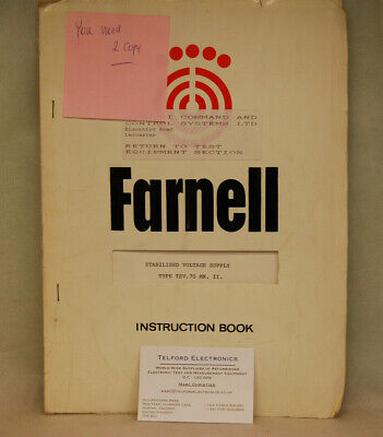 Farnell TSV.70 MK2 Stabilised Voltage Supply Instuction Book