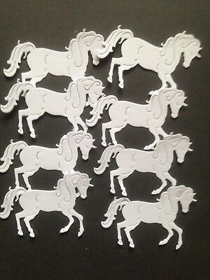 8 White Horse/Unicorn die cuts  - great for scrapbooking/cardmaking