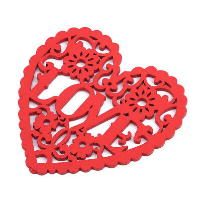 1OPcs Red Love Heart Pattern Hanging Resin Ornament Carved Wood Wedding Decor 6A