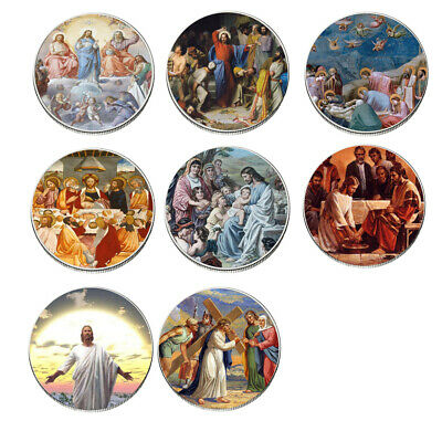 8pcs Jesus Silver Coin Set Collectible 999.9 Silver Plated Challenge Metal Coin