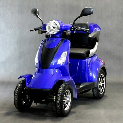 BLUE 4 Wheel ELECTRIC MOBILITY SCOOTER 1000W 55km travel e-scooter FASTER