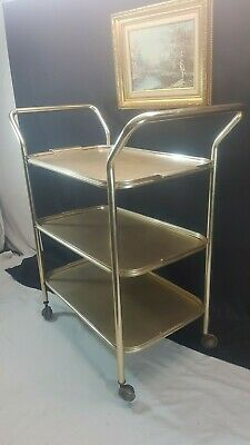 60s/70s Three Tier Removable Trays Folding Metal Clean Drinks/Serving Trolley