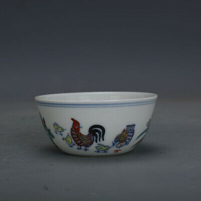 Ming chenghua mark China antique Porcelain Hand painting doucai Hen Chick cup
