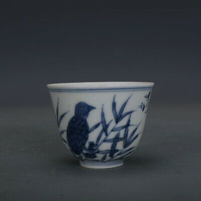 Ming chenghua mark China old Porcelain Hand painting blue white flower bird cup