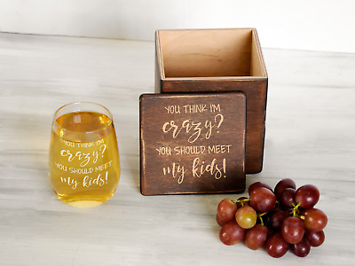 Twin Mom Gift Stemless Wine Glass,Funny Mom Gift Custom Wine Glass in Wooden Box
