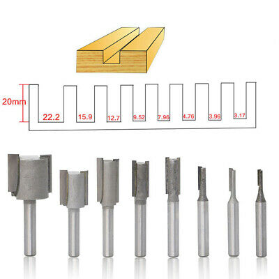 "8Pcs/Set Shank 1/4"" Dia Straight Router Bit Milling Slot Cutter Woodwork Tool"