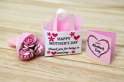 Dolls House Miniature Sweets Roses Milk Food Pralines Chocolate Mothers Day