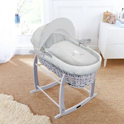 New Clair de lune grey wicker moses basket in hush a bye with grey deluxe stand