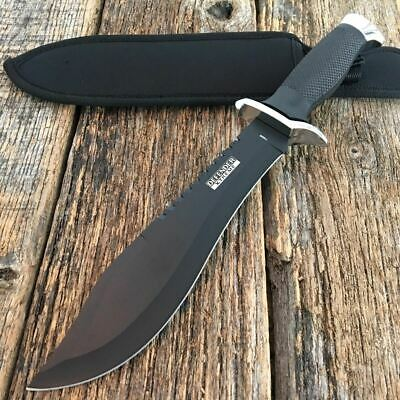 "13"" Tactical Combat Hunting Survival Knife Military Bowie Camping Rambo Black"