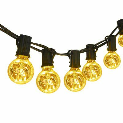 25FT G40 Globe String Light Clear Bulbs Outdoor Market Lights Indoor Garden