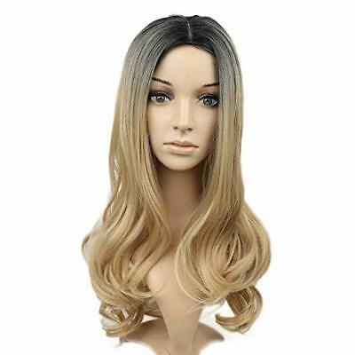 Ombre Blonde Color Wig Long Wavy Wigs Dark Roots Side Part Synthetic Hair Full W