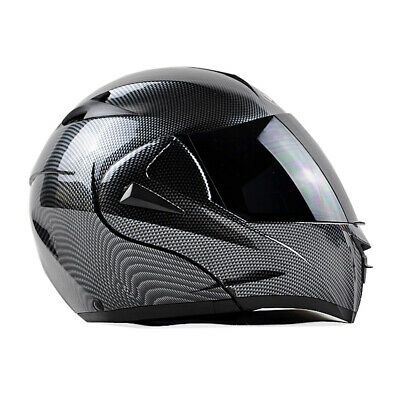 Motorcycle Bluetooth Helmet Modular Flip Up Full Face Dual Visor Carbon Fiber