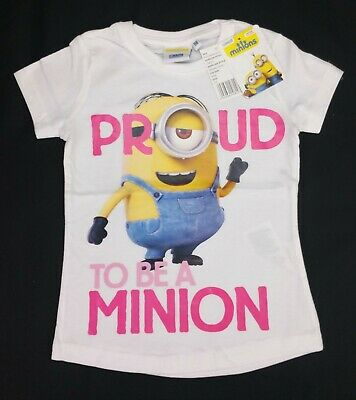 Girls Clothes MINIONS 'PROUD TO BE A MINION' T-Shirt Tee 5-6 Years 116cm BNWT