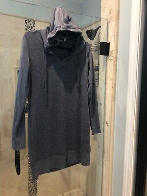 8657d13960c1 Athleta Bliss Sweatshirt Dress M Blue Grey Hooded Tunic Hoodie Sweater