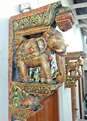 Elephant Handmade Wall Bracket Corbel Pair Wooden Vintage Sculpture Home Decor