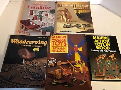 Lot 5 Vtg Books Wood Carving Toys Furniture Techniques