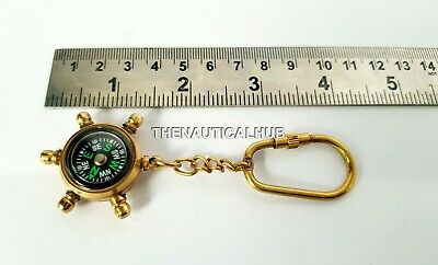 Nautical Brass Compass Key Chain Vintage Ring Marine Collectible Gift