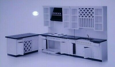 Dollhouse Miniature Complete White Kitchen Set 5 Pcs with Water cooler ~ GM009D