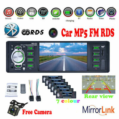 4.1'' HD 1 Din Bluetooth Stereo Car Radio MP5 Audio Head Unit Mirror Link FM TF