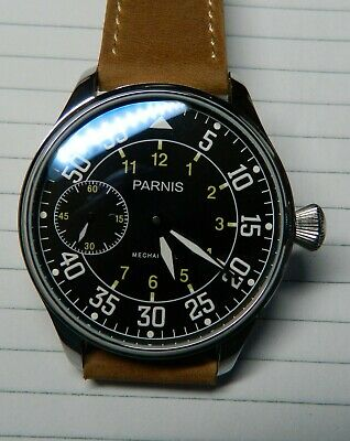 Parnis B-Uhr Luftwaffe dial Aviator Pilot:50mm:Exh.back:Seagull Movt:WW2:Leather