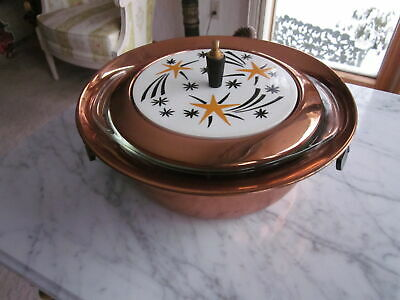 Mid Century Vintage Copper Shooting Stars Pyrex Casserole Insert Chafing DISH
