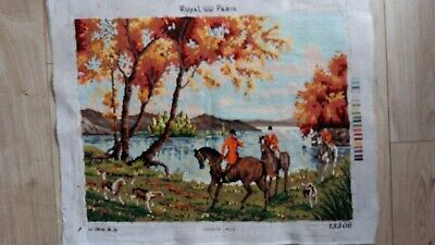 "Handworked completed tapestry ""HUNT BY LAKE"" 61cm x 47cm (approx 24""x 19"")"