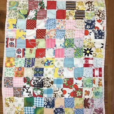 Baby Quilt Blanket Small Coverlet Throw Patchwork Hand Stitched Vintage 24 x 21