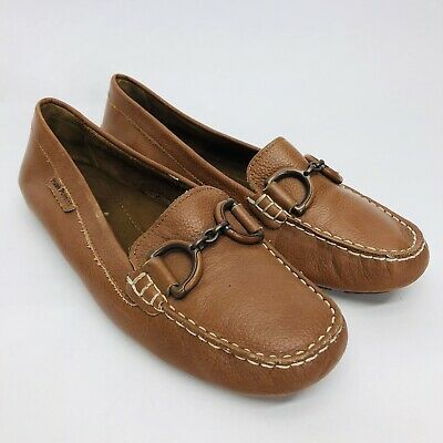 734007d4c55 HUSH PUPPIES Womens Loafers Horsebit Driving Shoes Size 10 M Brown Slip Ons