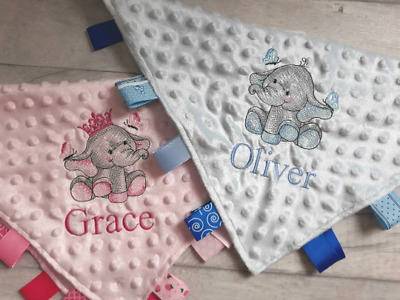 PERSONALISED EMBROIDERED BABY TAGGY TAGGIES BLANKET COMFORTER PRESENT *NEW BABY*