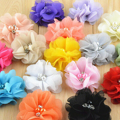 20pcs DIY Baby Girls Hair Pearl Chiffon Flower For Headbands Corsage No Clip BS