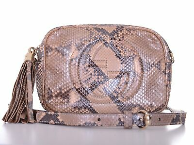 b0a7b6b1b284 GUCCI Soho Python Leather GG Disco Shoulder Bag Purse