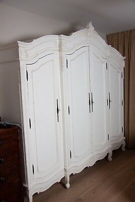 French Style Louis XVI, White Hand Carved Triple Armoire Wardrobe