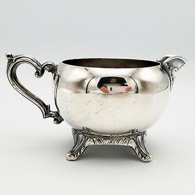 Silver Plated Footed Creamer W Ornate Spout