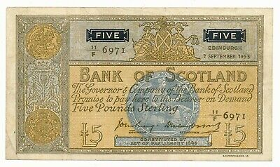 Bank of Scotland 5 Pounds Note 1955 P. 99  Fine