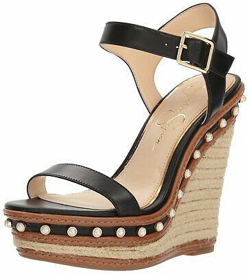 Jessica Simpson Womens Bassena Open Toe Casual Ankle Strap Black