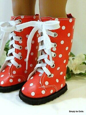 "RED /& WHITE Polka Dot TALL Lace-Up BOOTS SHOES fits 18/"" AMERICAN GIRL DOLL"