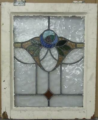 "MID SIZED OLD ENGLISH LEADED STAINED GLASS WINDOW Stunning Floral 21.5"" x 26"""