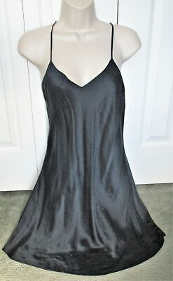 c52242945ac Vintage VICTORIAS SECRET Black 100% Silk SLIP CHEMISE NIGHTGOWN sz M Gown  LARGE