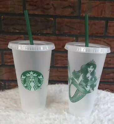 2 Starbucks Reusable Frosted Plastic Venti Cold Cup Tumblers 2 Green Straws NEW