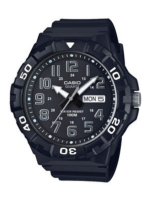 Casio Men's Quartz Rotating Bezel Black Resin 50mm Watch MRW210H-1AV, Never Used