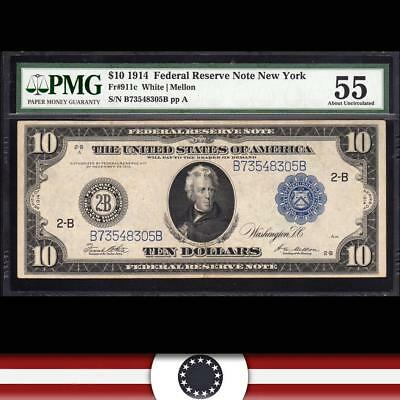 1914 $10 NEW YORK Federal Reserve Note FRN PMG 55 Fr 911c  B73548305B