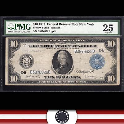 1914 $10 NEW YORK  Federal Reserve Note FRN  PMG 25 Fr 910  B3876828B