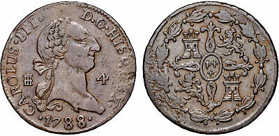 1788 Spain 4 Maravedis Charles III KM# 407.2 Copper Coin VF