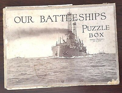 "Rare Antique 1917 ""our Battleships"" Puzzle Set – E. Muller Jr. Milton Bradley"