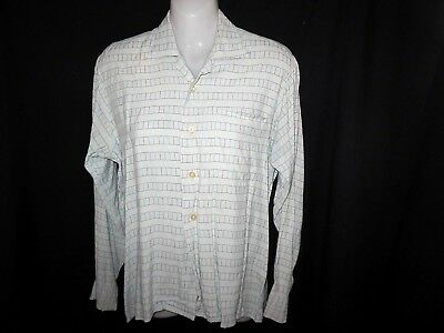 """1960 Vintage """"PALRAY"""" Shirt - Top - Pale Blue Fine Embroidered Colored Lines S-M"""