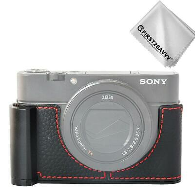 Genuine Leather Half Camera Case Bag Cover base  for Sony Cyber-shot DSC-RX100