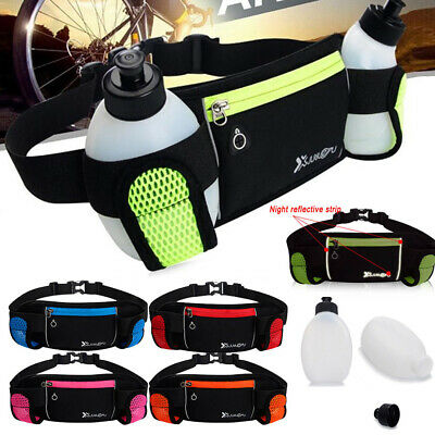 Gym Running Belt Jogging Cycling Waist Pack Pouch Sports Bag 2PCS Water Bottles
