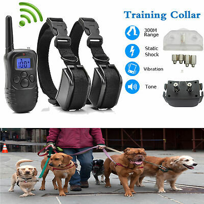 Electric Shock 2Dog Remote Control Training Collar Anti-Bark Rechargeable LCD AT