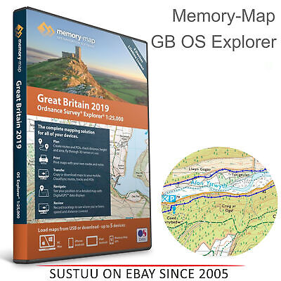 Memory-Map Great Britain OS Explorer 1:25k 2019 Road Map│Use Up to 5 Devices│USB