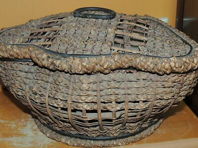 Hand Made Sewing Basket Wicker / Rush woven Grass / Reed Silk lined Antique